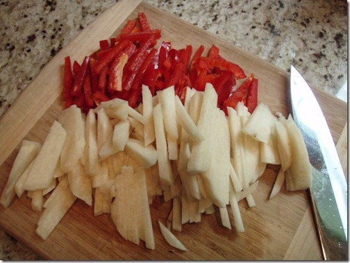 jicama and red pepper