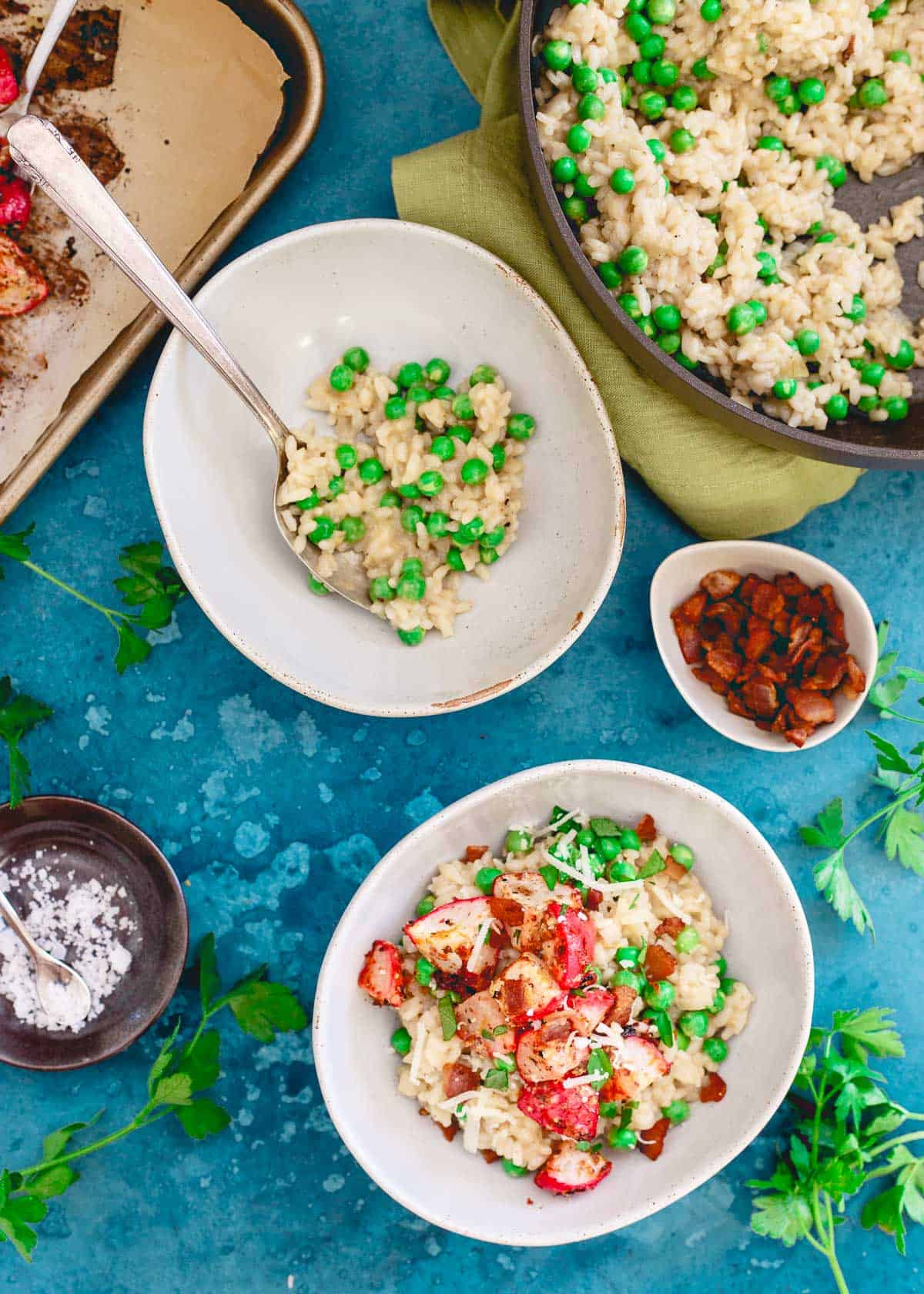 Bright spring flavors burst in your mouth with each bite of this pea and radish risotto!