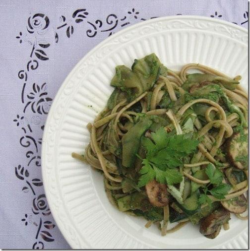 mushroom pasta with pesto