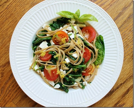 Lemon Spinach Feta Linguine