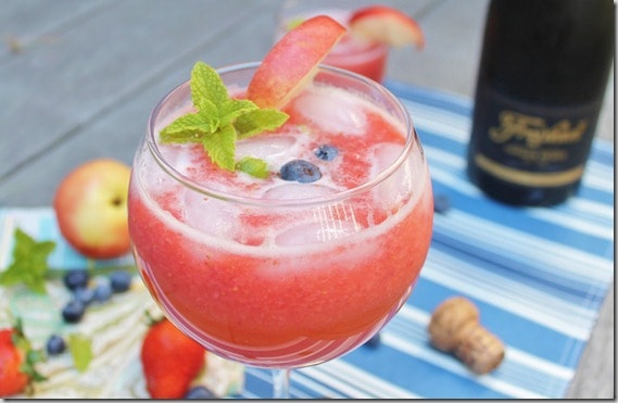 Strawberry Nectarine Lime Bellini
