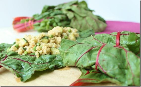 Tofu Zucchini Fried Rice Swiss Chard Wraps