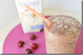 Chocolate cherry coconut smoothie