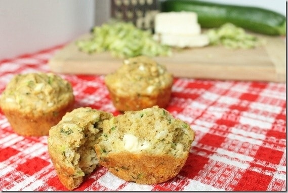 Olive Oil Zucchini Feta Muffins