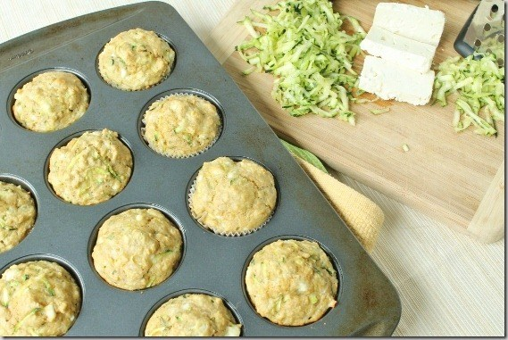 Zucchini olive oil muffins with feta