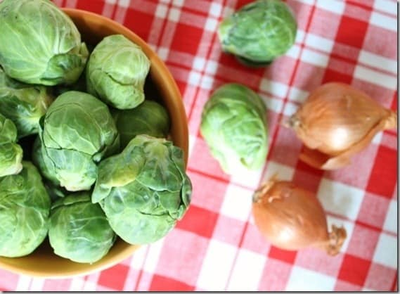 Brussels Sprouts and shallots cooked stove top for a delicious alternative to roasting.