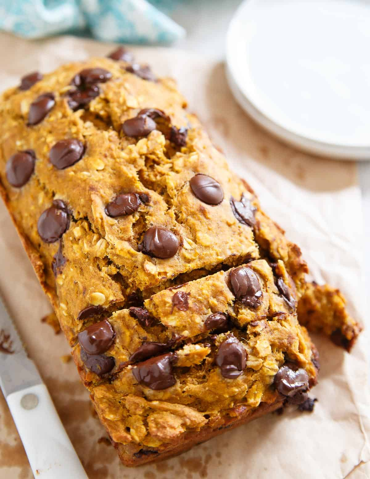 This pumpkin banana chocolate chip bread is a delicious fall treat sweet enough to be dessert and light enough to be breakfast. The perfect fall treat!