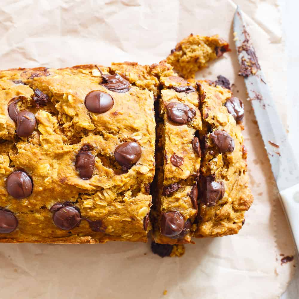 The perfect balance of health and dessert, this pumpkin banana chocolate chip bread is a delicious fall breakfast, snack or treat!
