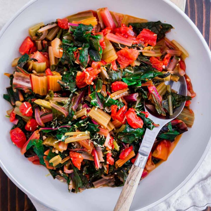 An easy recipe for simple sauteéd Swiss chard