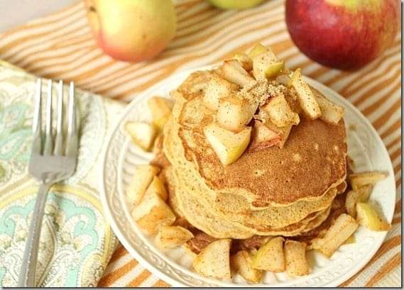 These apple spiced pancakes epitomize fall, a delicious and easy seasonal breakfast.