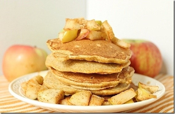 A sweet, apple crisp like filling and topping makes these apple spice pancakes smell and taste like a cider donut. Perfect for a fall breakfast!