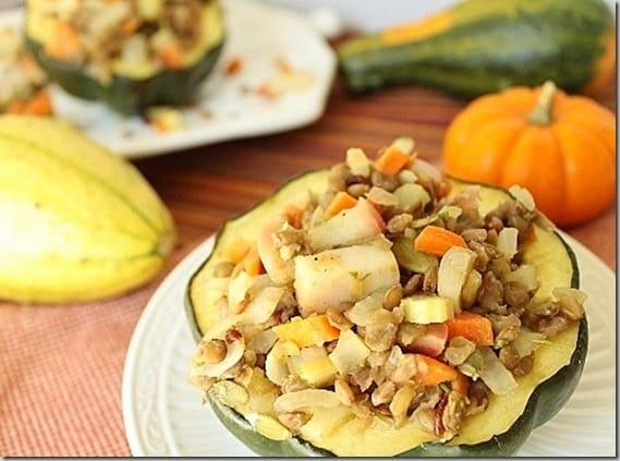 Apple and Lentil Stuffed Acorn Squash