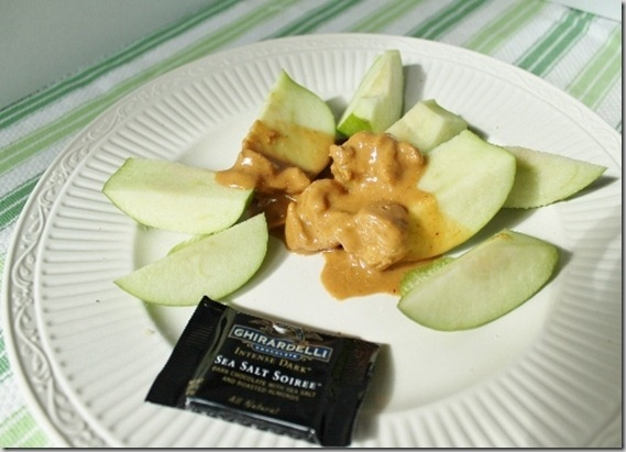Apples peanut butter and chocolate snack