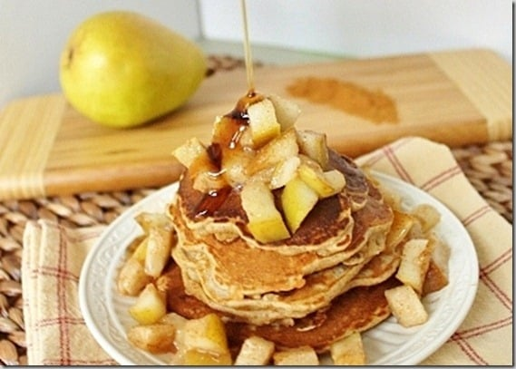 With butter cinnamon and pears sauteed together for a topping and pears and cinnamon inside these pancakes, they're a delicious fall inspired breakfast.