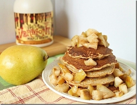 Sweet cinnamon pears make these pancakes a delicious fall breakfast.