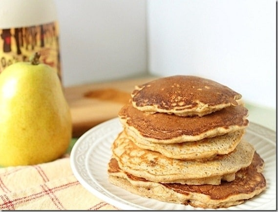 Sweet ripe pears and cinnamon permeate these pancakes for the perfect fall breakfast stack.