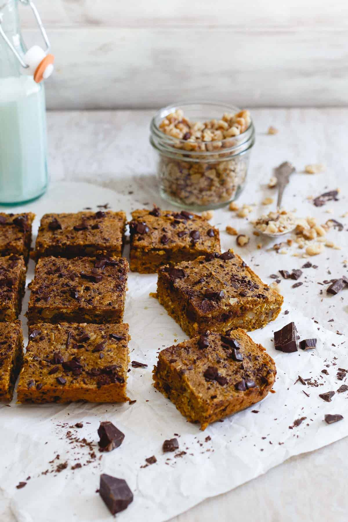 These pumpkin chocolate chip bars are a quick and easy fall treat. They're chewy, dense and perfect with a cold glass of milk.
