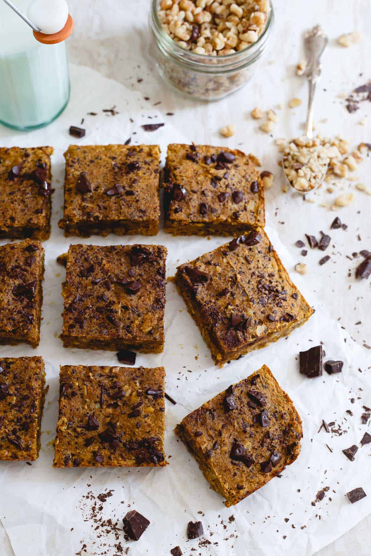 Pour a cold glass of milk and enjoy one of these fall-centric pumpkin chocolate chip bars for a treat!