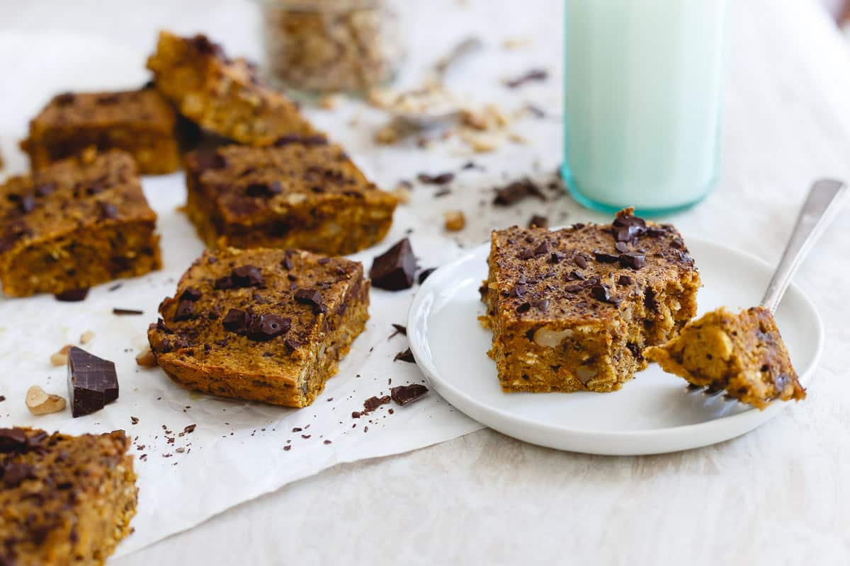 Packed with walnuts and dark chocolate, these pumpkin bars are a delicious fall treat.