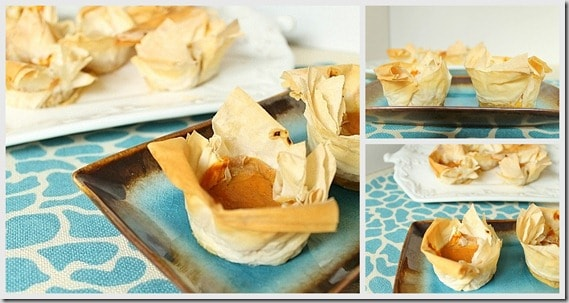 Pumpkin phyllo bites collage
