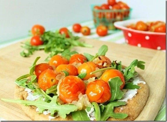 Roasted Sherry Tomato Flat Bread Pizza
