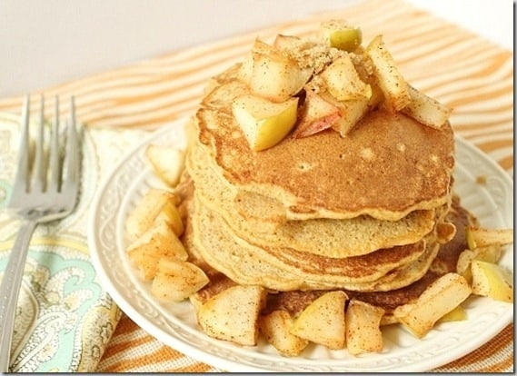Simple spiced Apple pancakes make a delicious fall breakfast.