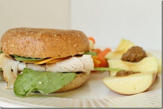 Turkey bagel sandwich