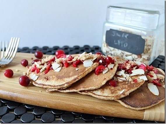Cranberry Almond Whole Wheat Pancakes