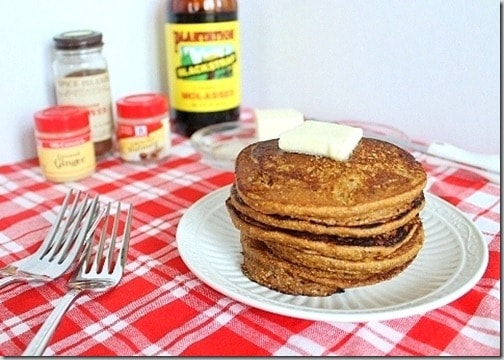 Gingerbread pancakes combined with pumpkin make a hearty and cozy fall or winter breakfast.