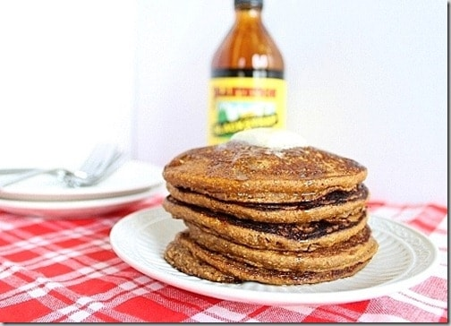 These gingerbread pumpkin pancakes have a mellow gingerbread flavor combined with seasonal pumpkin to make them a delicious breakfast.