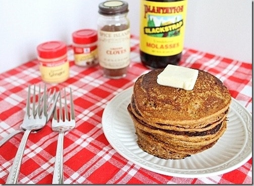 All the wonderful fall and winter spices combine in these gingerbread pumpkin pancakes.