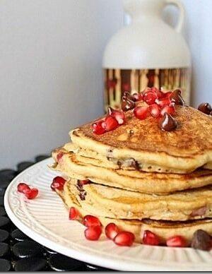 Pomegranate chocolate chip pancakes