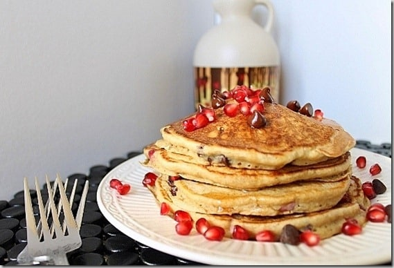 The pomegranate chocolate chip pancakes are a great balance of tart and sweet and they're very festive looking!