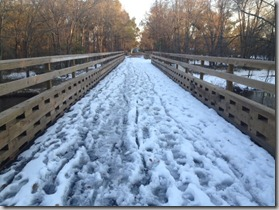 bike trail run with snow