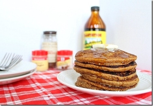 Try a stack of these gingerbread pumpkin pancakes this weekend - fluffy, moist and full of seasonal flavor!