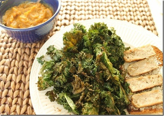 lunch with kale chips