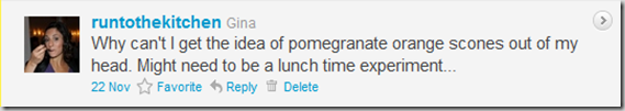 Pomegranate Orange Scones tweet
