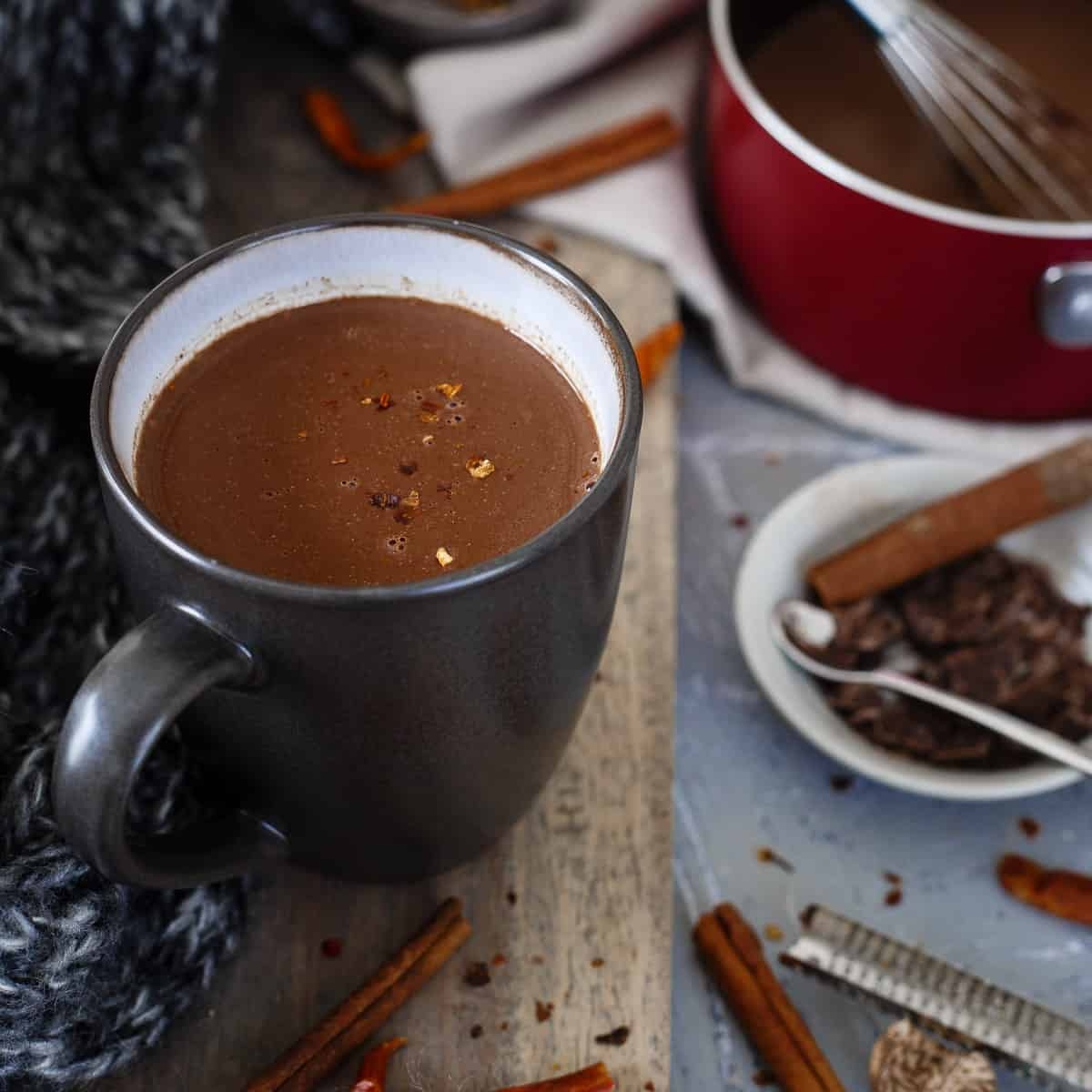 Mexican hot chocolate is the perfect balance of creamy, sweet, chocolaty and spicy. Perfect for a cozy winter day.