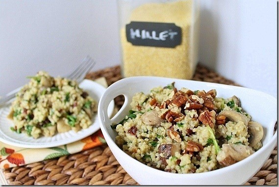 Mushroom Spinach Millet with Cherries