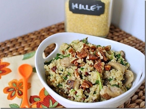 Mushroom Spinach and Cherry Millet