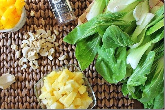 Ingredients for Pineapple Cashew Bok Choy side dish recipe.
