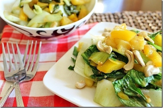 Pineapple and Cashew Bok Choy rivals any Chinese takeout menu. Add some lean protein for an easy, healthy and delicious meal.