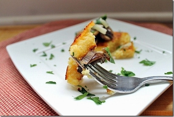 Polenta Squares topped with sauteed mushrooms make a deliciously crispy appetizer.