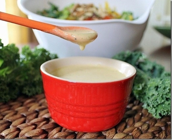 Pumped up Kale Salad with Creamy Hummus Dressing