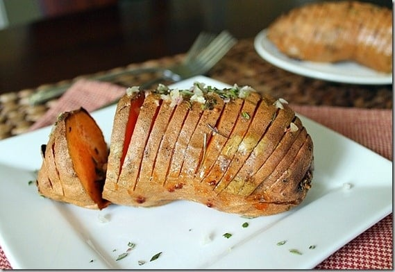 Rosemary Hasselback Sweet Potatoes