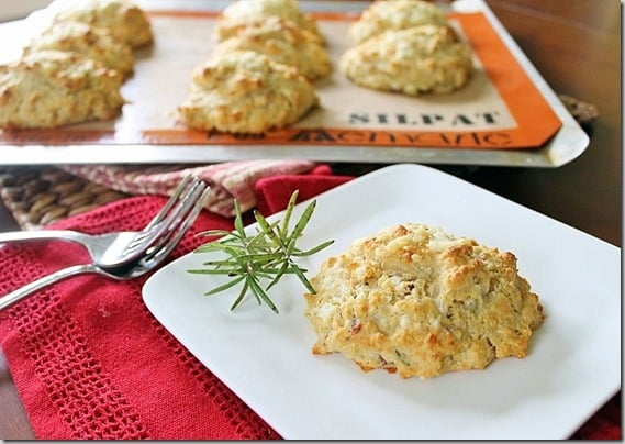 Rustic Rosemary Cheddar Bacon Biscuits