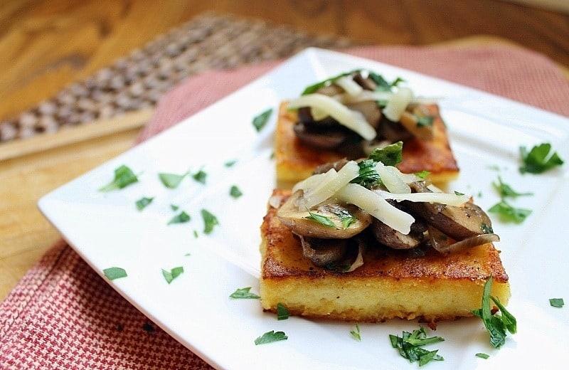 Crispy Polenta Squares with Mushroom Ragu