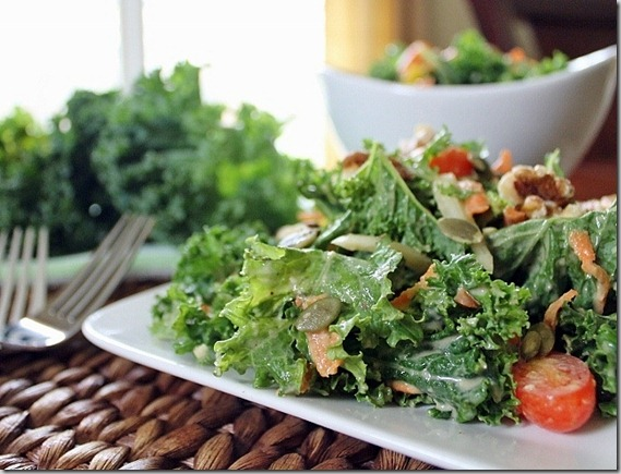 Kale Salad with Hummus Dressing