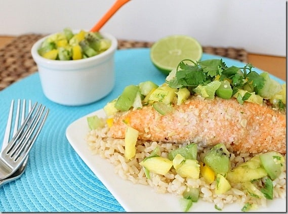 Coconut Cashew Crusted Salmon with Tropical Salsa