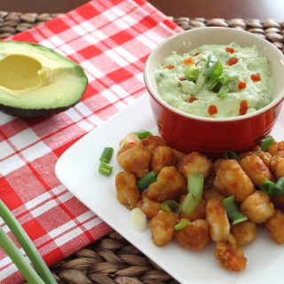 Kara-Age Popcorn Shrimp with Avocado Cilantro Dip